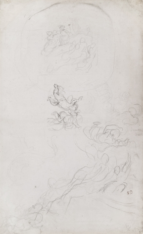 Eugene Delacroix, Study for Apollo Slays Python, Galerie d'Apollon, c. 1849-51  Pencil on paper 17 x 20 inches