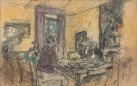 """Edouard Vuillard Study for """"Intimité, le Grand Salon des Clayes,"""" c. 1935"""