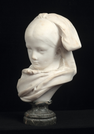 Auguste Rodin, Alsatian Orphan (Orpheline alsacienne, version à la tête droite), 1870-1871  White marble on green socle  H: 11 in  Signed and dated on the edge of the neck: A.Rodin 1870