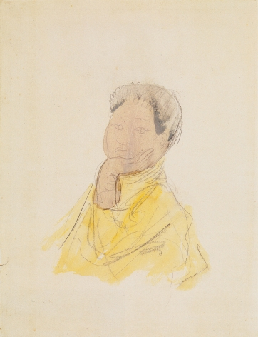 Auguste Rodin, Portrait of Cambodian Female Dancer (Princess Sumphady?), 1906-1907, Graphite, watercolor, gouache, heightened with black pencil on wove paper 13 x 10 inches