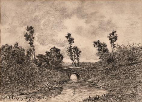 Henri Joseph Harpignies (1819-1916) Le Pont de Saint-Prive, 1919   Charcoal on paper 15 1/4 x 21 1/8 inches