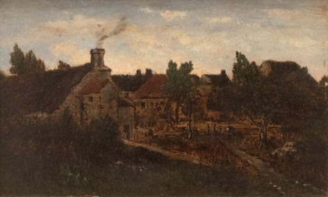 Theodore Rousseau Un jardin à Barbizon (View from Rousseau's Window), c 1850-55  Oil over ink on panel 4 7/8 x 7 7/8 inches