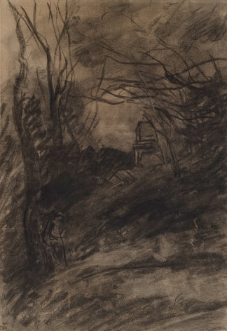 JEAN-BAPTISTE-CAMILLE COROT French, 1796-1875 . Figure en sous-bois, c. 1860-70 Charcoal on brown paper 17 1/8 x 11 3/4 in.