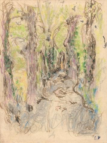 Edouard Vuillard, Etude pour L'Allée en sous-bois, Amfréville, 1905-07, Pastel, colored pencil, pen and brown ink with pencil on paper, 5 5/8 x 4 1/4 inches