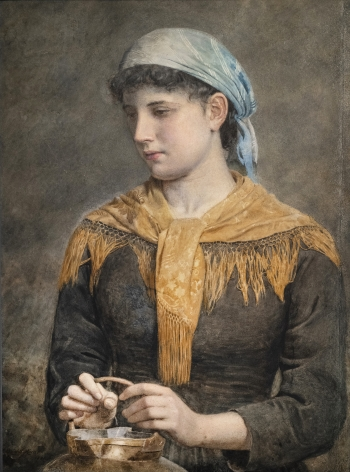 William Bright Morris British, 1844-1900 . Woman with Golden Scarf, 1881    Watercolor on board 28 1/2 x 21 1/8 in.