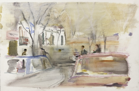 Wendy Mark, Spain/Dancers/Courtyard, 2011  Charcoal and oil on prepared paper  13 ¾ × 22 ¾ inches