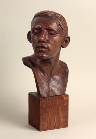 Auguste Rodin, Bust of the Age of Bronze, Conceived 1875–76; reduced version realized in 1903–04, this cast c. 1917, Patinated terracotta