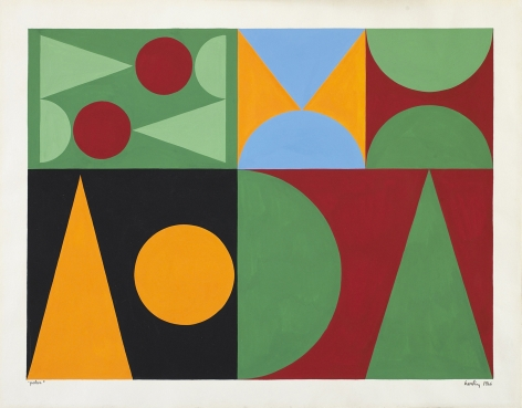 Auguste Herbin, Poker, 1946    11 3/4 x 15 3/4 inches Gouache on paper