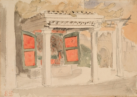 Eugene delacroix Interior of a Moroccan House, 1832    Watercolor and pencil on paper 4 1/2 x 6 3/8 inches