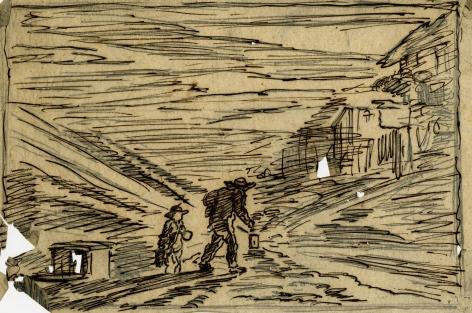 Charles F. Daubigny, La recherche d'une auberge    Pen and ink on papier calque 4 7/16 x 7 1/4 inches