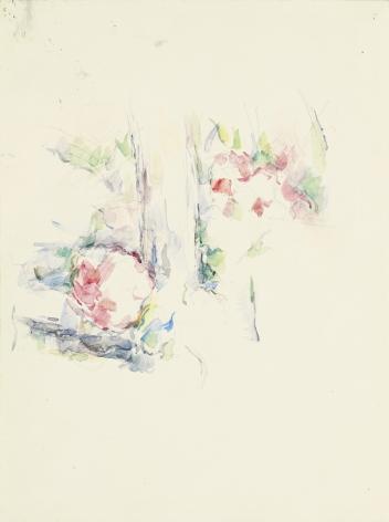 Paul Cezanne, Tronc d'arbre et fleurs, c. 1900, Watercolor and pencil on paper 16 5/8 x 12 1/2 inches