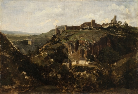 Theodore Rousseau, Bourg en Auverne, c. 1830, Oil on paper laid on panel 9 5/8 x 13 7/8 inches