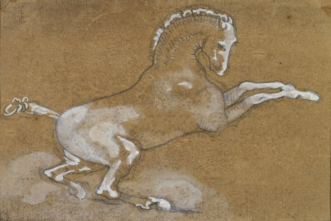 "Théodore Géricault, Rearing Horse: Study for ""The Race of the Barberi Horses,"" c. 1817    Black chalk with touches of white gouache on paper 4 x 5 1/4 inches"