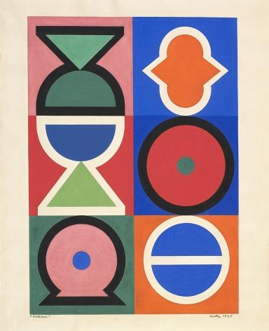 Auguste Herbin, Oiseau, 1946, Gouache on paper 12 3/4 x 9 1/4 inches