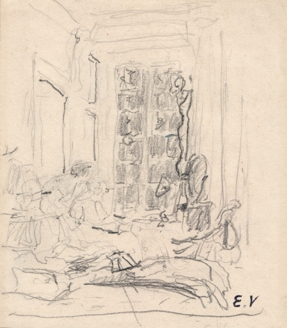 Edouard Vuillard, Mme. Hessel in Her Bedroom, The Pink Room, Chateau des Clayes, 1930-1935, Pencil on paper, 4 7/8 x 4 1/4 inches