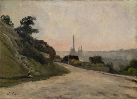 STANISLAS LEPINE French, 1835-1892 . Panoramic View of Rouen (Vue panoramique de Rouen),  c. 1876-1880   Oil on cradled panel