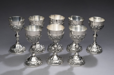Set of Eight Aztec Rose Pattern Goblets