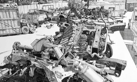 Black and white drawing of car wreckage