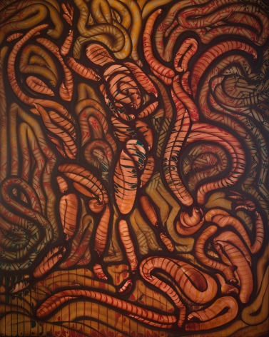 Nathan Redwood Tiger Rag, oil paint, brown, red orange, snakes, patterns