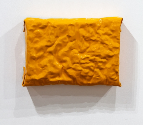 small yellow painting shiny wall sculpture minimalism