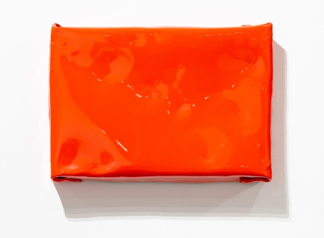 Orange painting shiny wall sculpture minimalism