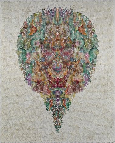 Faces-Oriole黄雀 2014 Hand dyed and waxed paper-cut, cotton thread, paper手工着色和浸蜡镂空剪纸, 棉线, 纸