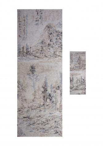 """Digital-No10-MH96æ•°ç No10-MH962010Xuan paper, Chinese ink on paper, burn markså®£çº¸ã€çš®çº¸ã€å¢¨ã€ç""""°Unframedæ—æ¡†70 1/2 x 13 5/8 in (179 x 34.5 cm)30 3/4 x 5 3/4 in (78 x 14.5 cm)"""