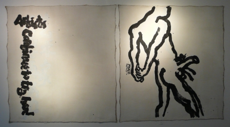 Artists Continue to Try Hard艺术家还要继续努1996 - 2006Acrylic and ink on canvas (dypticht)布面丙烯, 墨水混合材料94 1/2 x 909 1/2 in (240 x 230 cm) each