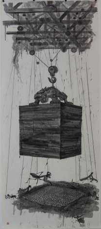 Mantis Carry a Bronze Tripod: Shadow of Dynasty Seal over Rice Fieldèž³è‡'扛鼎:传国玉玺的阴影笼罩着稻田, 2008