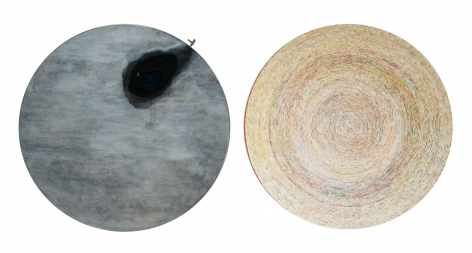 "Song Dong 宋冬 (b. 1966) & Yin Xiuzhen 尹秀珍 (b. 1963), Chopsticks: Incision of Time ""Tree Ring"" and ""Black Hole"" Round 20121 筷道:时间的切片 ""å¹´è½®""""黑洞""圆切片 20121, 2012"