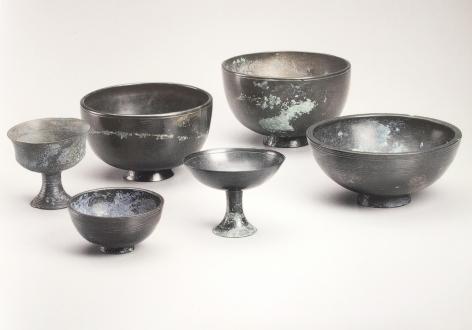 A Set of Six Bronze Vessels