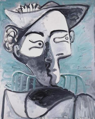 Pablo Picasso Femme au chapeau assise. Buste, 1962