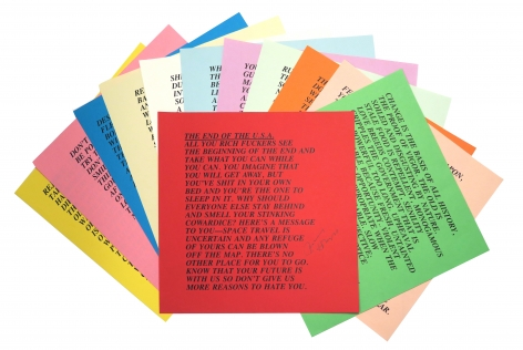 Jenny Holzer, Inflammatory Essays, suite of 12,  10 x 10 sheets, Alternate Projects