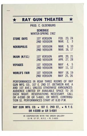 Claes Oldenburg, Ray Gun Theatre Schedule