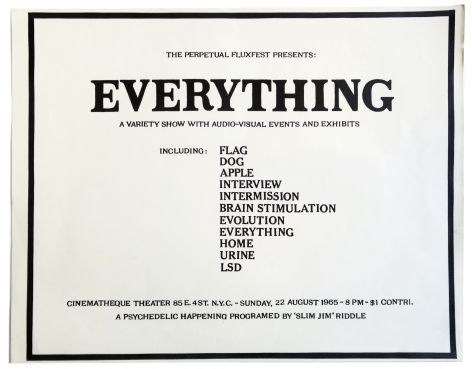 The Perpetual Fluxfest Presents: EVERYTHING, A Variety Show with Audio-Visual Events and Exhibits
