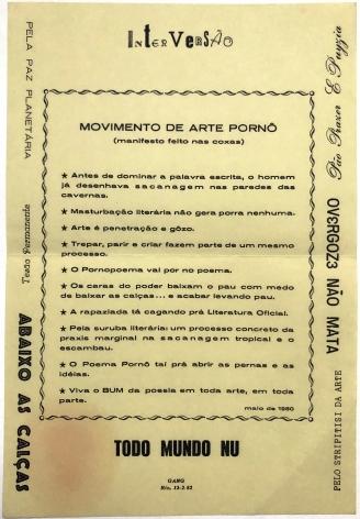 Manifesto of the Movimento de Arte Pornô