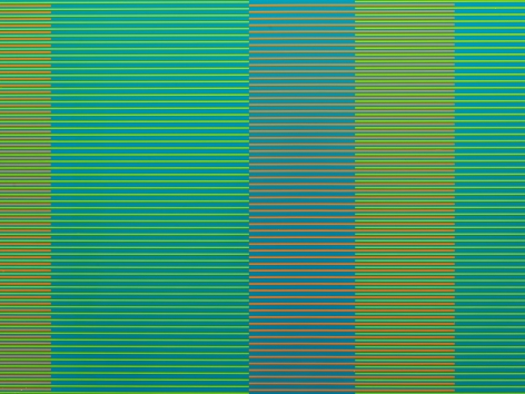 "Matthew Kluber - Split Infinitives (blue, yellow, orange), alkyd on aluminum, 30"" x 40"", 2019, precisely striped narrow horizontal bands of the colors in the title that start and stop creating the illusion of five variously colored vertical elements"