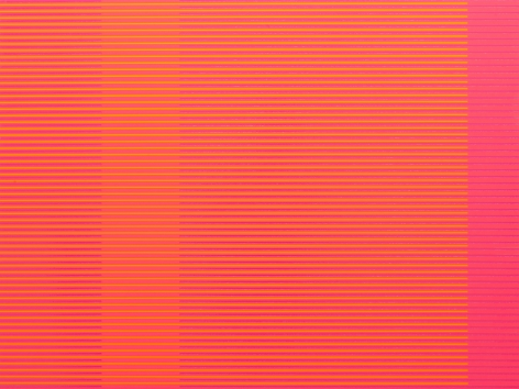 "Matthew Kluber - Split Infinitives (pink, yellow, dark-magenta), alkyd on aluminum, 30"" x 40"", 2019, precisely striped narrow horizontal bands of the colors in the title that start and stop creating the illusion of four subtly varied colored vertical elements"