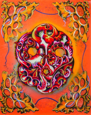 an orange abstract painting with cellular structures in each corner and a central organic shape