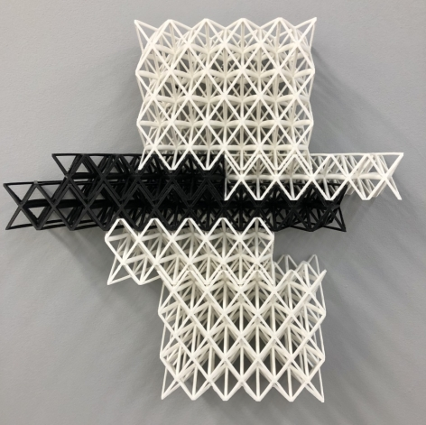 Matthew Kluber Drawing Structure (Single Wing), 3D printed Tough PLA (polylactic acid), 17.5 x 21.25 x 3, 2019, a three dimensional grid structure, wall mounted, suggesting shifting planes of white and black  mini-grids, a bridge? maybe a structure on a planet outpost?