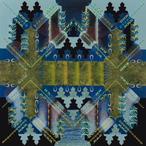 An abstract painting on wood panel with blues, black and gold - an nod to artist Gerhard Richter