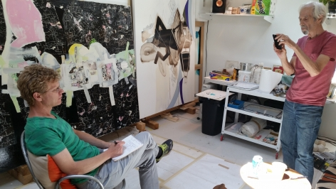 May 31, 2018 studio visit with James Brinsfield (right) and writer James Martin (left).  Two paintings in the background that were selected for the 2018 retrospective at JNG, 2008 and 2011, respectively.