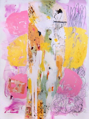 a large abstract James Brinsfield painting referencing a public park in Germany, pink and yellow like balloons or cotton candy with energetic mark making