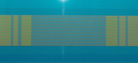"Matthew Kluber, ""Parsing the Lingo"", alkyd on aluminum, 32"" x 72"", 2016, a precisely striped painting with a turquoise ground, thin greenish-yellow and blue horizontal stripes, and a central section with three vertical elements at each end - not matching, but balanced"