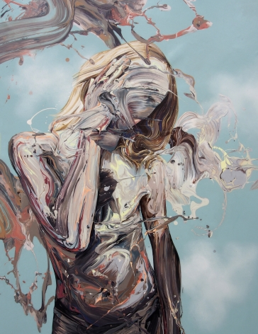 """Transcription 44 (The World on Their Shoulders)"", acrylic on canvas, 41"" x 31"", 2018"
