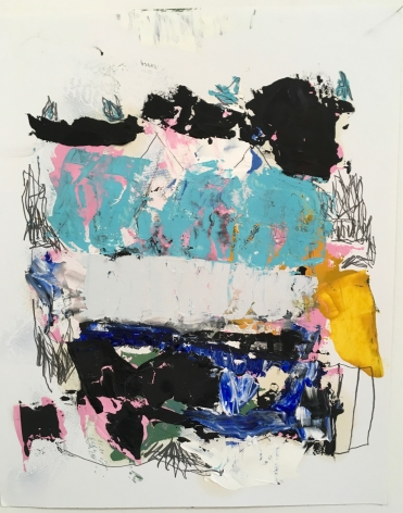 an abstract James Brinsfield painting on paper reminiscent of the artists larger paintings on canvas - a stack of shapes in warm white, black, blue and pink and paint-stick drawing