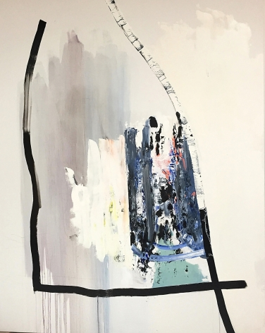 James Brinsfield abstract painting with a large number four like dark marks and one vertical suggestive a birch tree trunk