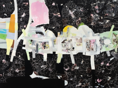 a large abstract James Brinsfield painting, black cracked painted background, a procession of whitish shapes on sticks moving across, and what could be a pink head and black shoes at the back of the procession