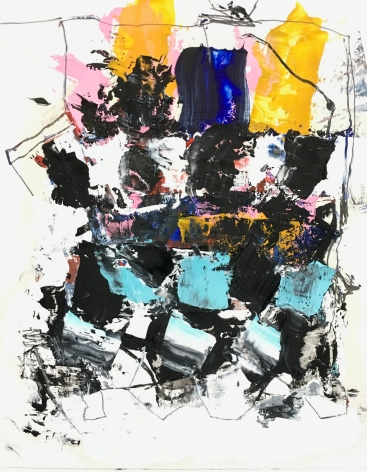 an abstract James Brinsfield painting with a stack of black and aquamarine shapes rising and stopped with larger orange-yellow and deep blue shapes on top