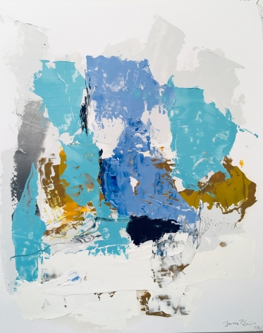 a beautiful abstract James Brinsfield painting with broad shapes of aquamarine, steel blue, earth tones. grey, silver and white